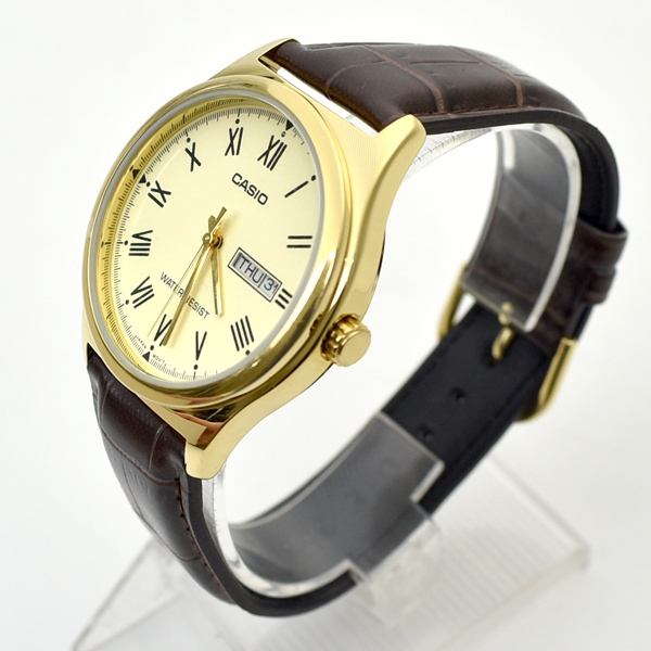 CASIO手錶 羅馬數字金面皮革錶NECK11