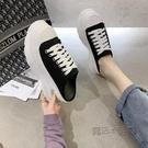 包頭半拖鞋女2021新款韓版厚底鬆糕帆布鞋增高百搭休閒運動老爹鞋 618促銷