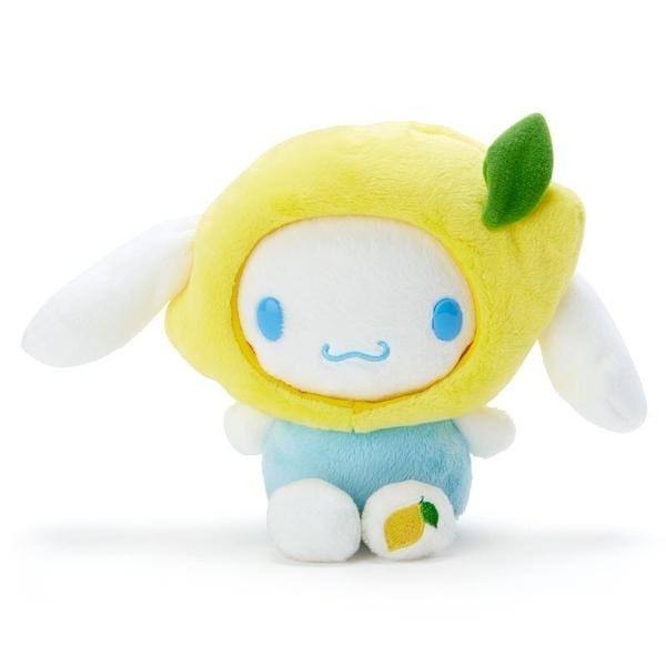 〔小禮堂〕大耳狗 套頭水果帽絨毛玩偶娃娃《S.藍黃.檸檬》擺飾.玩具 4901610-30798