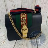 BRAND楓月 GUCCI 古馳 431666 SYLVIE系列 黑緞帶鍊包 精品小包 側背包