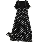 短袖套裝(兩件套)-黑色針織衫波點吊帶裙女裙子73yd35【時尚巴黎】