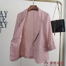 粉色七分袖亞麻西裝外套女夏薄款休閒上衣韓版修身短款棉麻小西服【快速出貨】