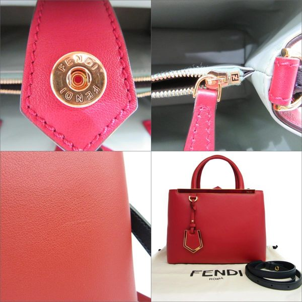 FENDI 紅色牛皮手提斜背包 Petite 2Jours 8BH253 【二手名牌 BRAND OFF】