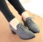 春秋季新款高跟鞋女中跟粗跟韓版英倫女鞋學院風複古牛津單鞋 時尚潮流