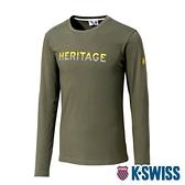 K-SWISS Heritage Stripe Tee印花長袖上衣-男-軍綠