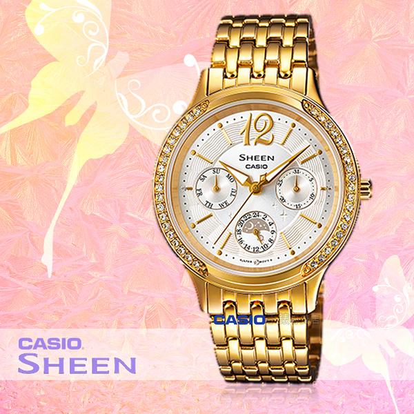 CASIO 卡西歐 手錶專賣店 SHE-3030GD-7A 女錶 指針錶 不鏽鋼錶帶 防水 三眼 施華洛世奇