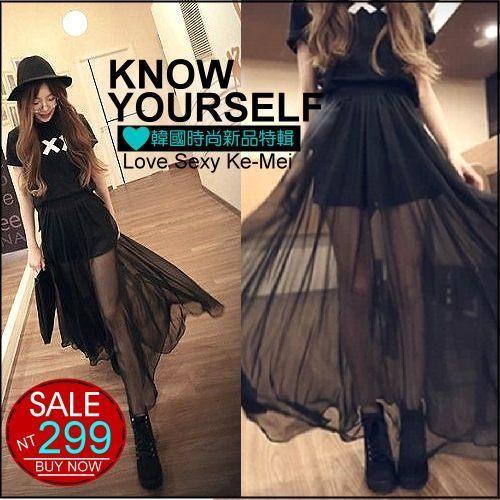 克妹Ke-Mei【AT56549】超美~女神系性感透視內安全褲飄飄雪紡長裙