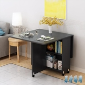 簡易圓形折疊餐桌小戶型家用可移動帶輪長方形簡約多功能吃飯桌子 JY15958【男神港灣】