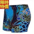 泳褲-花色寬鬆透氣平口男四角褲2色67t8【時尚巴黎】