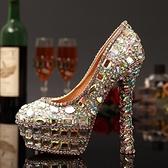 圓頭高跟鞋-獨特個性炫彩亮麗女水晶婚鞋73e17[巴黎精品]