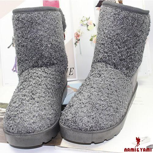 【Nami&Yami】甜美絨面後跟蝴蝶結雪靴(灰)