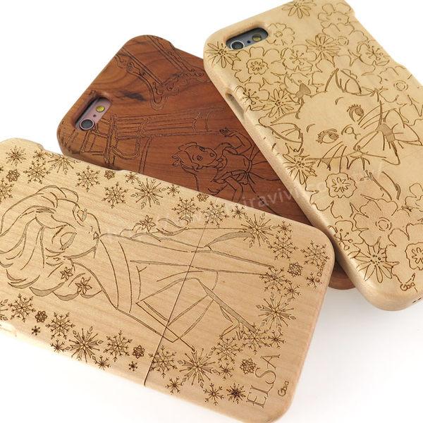 【Disney 】iPhone 6/6s 原木/木頭雷雕保護殼/手機殼-女孩系列