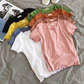 夏裝韓版木耳邊純色彈力打底衫簡約百搭短款上衣女裝寬鬆T恤 魔方