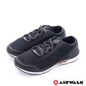AIRWALK(男) - 輕勢力 雙層彈力網布透氣運動鞋-重黑