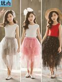 半身裙女童紗裙半身裙夏季長裙中大童超洋氣公主裙子兒童蓬蓬網紗套裝裙