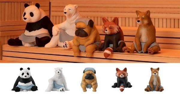 BANDAI 萬代 扭蛋 三溫暖中的動物 熊貓 北極熊 巴哥 柴犬 狸貓 5款一組【金玉堂文具】