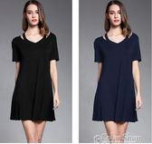 夏季寬鬆莫代爾短袖洋裝大碼中長款半袖休閒連身裙孕婦color shop