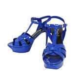 【YSL】TRIBUTE漆皮經典款高跟涼鞋 (寶藍)  315490 B8I00 4331