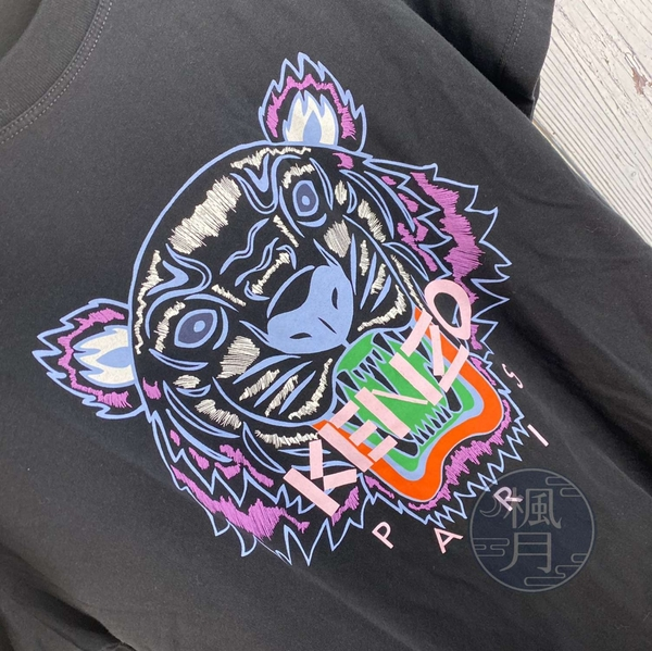 BRAND楓月 KENZO 高田賢三 F952TS7214YB 虎頭 黑棉T #M 100%棉 短袖T恤 外搭內穿