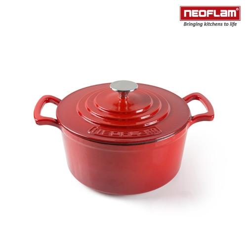 【南紡購物中心】韓國NEOFLAM 24cm厚釡琺瑯鑄鐵湯鍋 NF-CI-C24