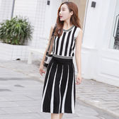 兩件式洋裝棉質上衣黑白條紋針織背心正韓半身裙時尚套裝LS8080407