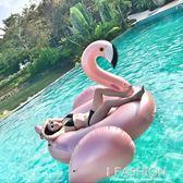 網紅充氣玫瑰金火烈鳥香檳金浮床浮排游泳圈成人兒童坐騎玩具-ifashion