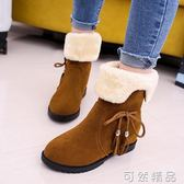 冬季新款韓版雪地靴女鞋短筒加絨保暖平底平跟學生靴子女棉鞋   聖誕節快樂購