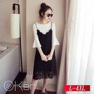 中大尺碼 顯瘦T恤蕾絲連衣裙兩件套裝 L-4XL O-Ker歐珂兒 148003-C