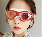 佑遊泳鏡近視電鍍防水防霧 男女士成人專業平光大框電鍍遊泳眼鏡  現貨