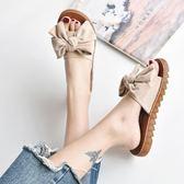 拖鞋女 拖鞋女外穿夏季新款蝴蝶結復古一字拖百搭韓版學生防滑沙灘鞋