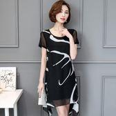 雪紡洋裝大碼女裝夏季新款印花胖mm加肥加大寬鬆短袖連衣裙 JD2243【KIKIKOKO】