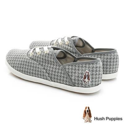 Hush Puppies 毛呢千鳥格咖啡紗帆布鞋-灰色