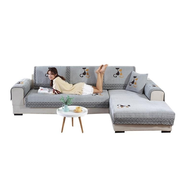 沙發墊毛絨冬季布藝歐式防滑坐墊 全包萬能套罩