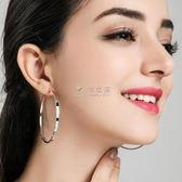 耳環 S925純銀圓圈耳環女韓國氣質個性百搭耳圈簡約耳墜圓形大圈圈耳飾 俏女孩