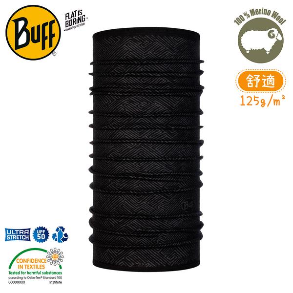 【BUFF 西班牙 美麗諾羊毛印花頭巾-舒適 黑色迴路】120765/圍脖/帽子/口罩/吸溼排汗/抗菌除臭