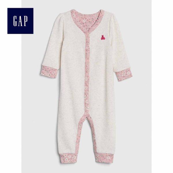 Gap女嬰兒 布萊納小熊刺繡長袖連體衣 494251-亮麻灰色