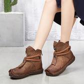 真皮短靴 手工 複厚 低跟 皮靴 民族風 底軟靴/2色-夢想家-標準碼- 0813