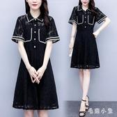 大碼洋裝2020夏季新款時尚胖mm百搭洋氣蕾絲拼接POLO衫遮肚連身裙子 LR24864『毛菇小象』