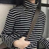 促銷款長袖高領條紋t恤女長袖寬鬆秋冬季正韓上衣棉質百搭修身打底衫女
