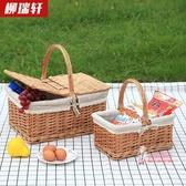 野餐籃 柳編野餐籃手提籃購物籃提籃花籃禮品包裝籃采摘籃子T