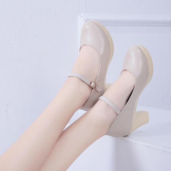 旗袍模特t台走秀鞋女超高跟厚底防水台粗跟單鞋大碼女鞋工作鞋女 雙12全館免運