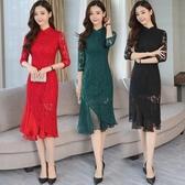 復古洋裝連身裙女 立領中大尺碼改良式旗袍裙修身包臀裙禮服蕾絲洋裝 超值價
