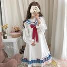 蘿莉日系小裙子海軍領可愛風洛麗塔日常連身裙襯衫女【聚可愛】