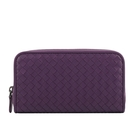【BOTTEGA VENETA】小羊皮編織ㄇ型拉鍊長夾(紫色) 518389 V001N 5213