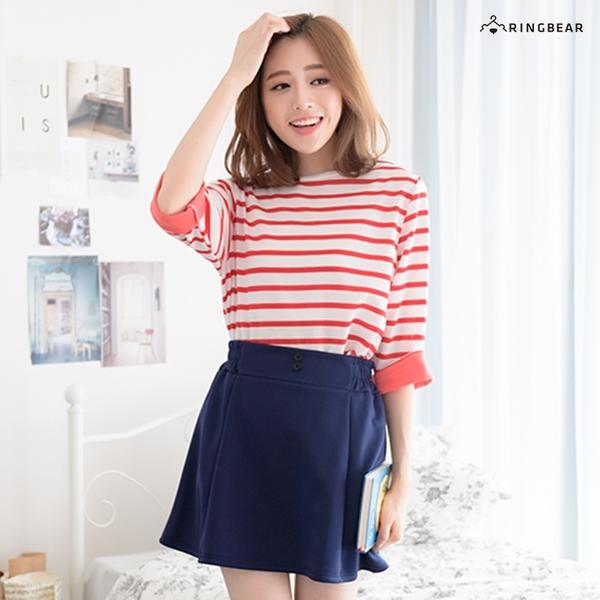 質感短裙--簡單自在知性俐落側腰鬆緊帶排扣傘狀下擺磨毛短裙(紅.藍XL-5L)-Q63眼圈熊中大尺碼