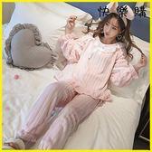 珊瑚絨睡衣韓版公主風法蘭絨加厚保暖套裝家居服秋