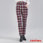 cantwo經典高腰格紋彈力窄管褲(共二色)~網路獨家優惠