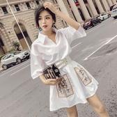 秋裝新款韓版氣質翻領五分袖綁帶收腰口袋刺繡A字裙洋裝女