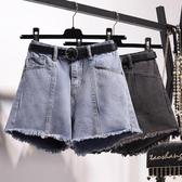 現貨5折-牛仔短褲女高腰2020新款夏季顯瘦寬鬆a字潮熱褲外穿闊腿大碼胖mm10-16