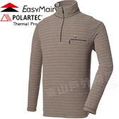 EasyMain 衣力美 SE14065-77棕灰 男輕量保暖排汗條紋衫